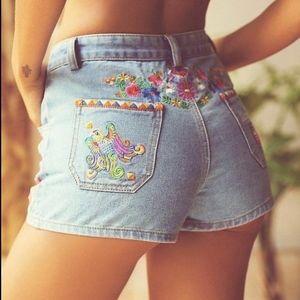 Spell Designs Love Child Denim Shorts Embroidered
